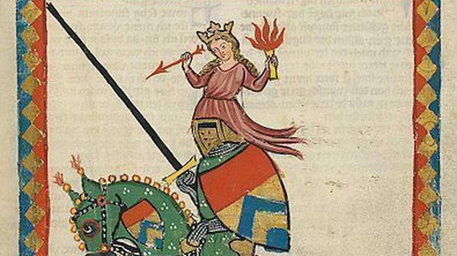 Portret Ulryka von Liechtenstein pochodzący z Codexu Manesse (domena publiczna)