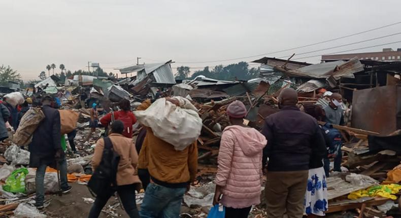 Demolitions at Gikomba market in Nairobi