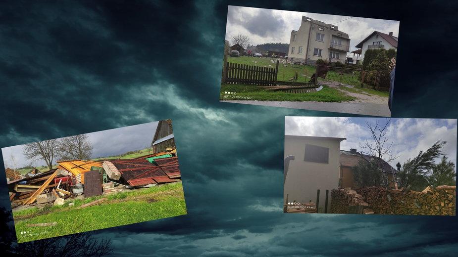 Trąba powietrzna na Lubelszczyźnie. Zerwane dachy w powiecie biłgorajskim