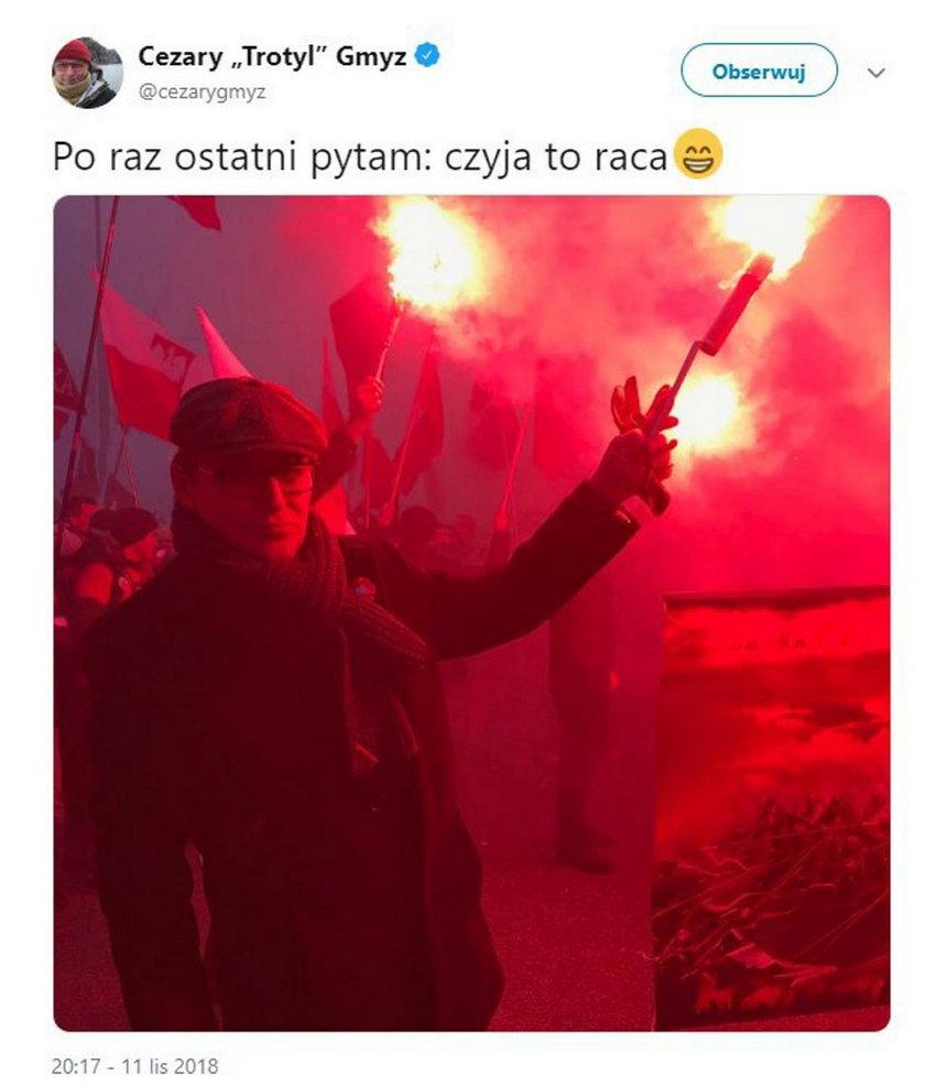 Policja szuka sprawców odpalenia rac, a dziennikarz TVP z tego kpi?