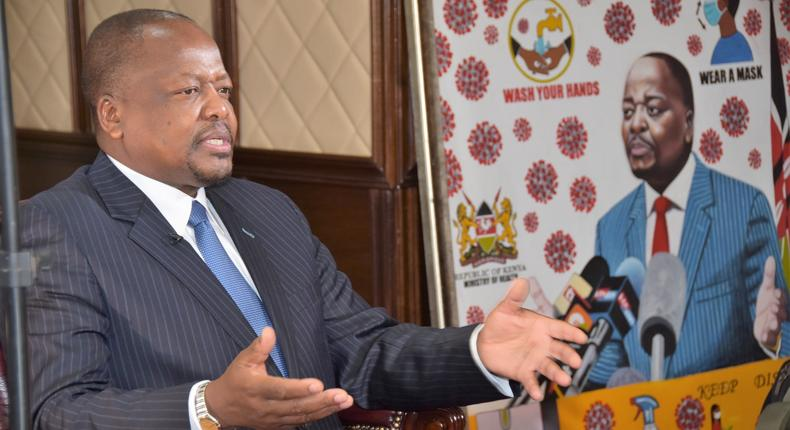 Health CS Mutahi Kagwe during interview with CNN's Larry Madowo