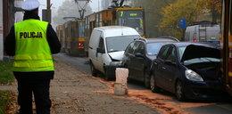 Dwa tramwaje i cztery samochody - wypadek na Przybyszewskiego