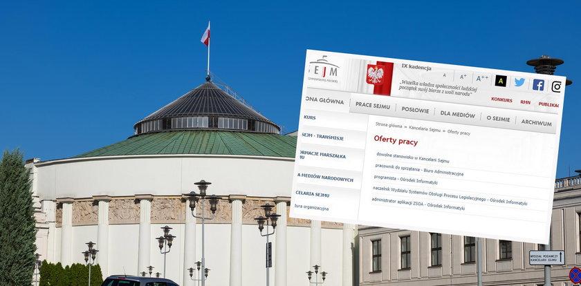 Nietypowa oferta pracy na stronie Sejmu. Można się mocno zdziwić