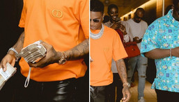Wizkid went big for a dinner date with his friends at a restaurant in Lagos