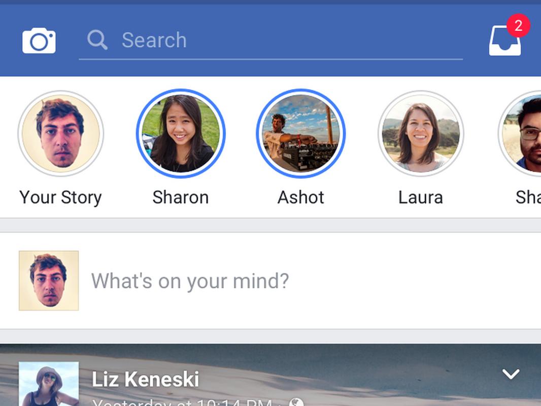 Ikony pozwalające na dostęp do materiałów z Facebook Stories są na górze ekranu w aplikacji