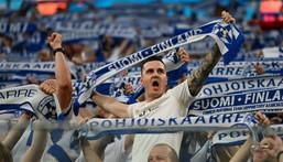 Finland fans cheer on their team against Belgium in Russia Creator: Kirill KUDRYAVTSEV