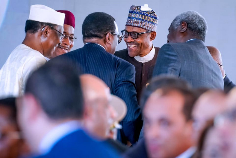 President Buhari alongside President Idris Deby of Chad, President Mahamadou Issoufou of Niger, Chairperson of AU Commission Moussa Faki Mahamat and President of AfDB Akinwunmi Adesina during the Program of ASWAN Forum on Peace and Sustainable Development in Africa on 11th Dec 2019