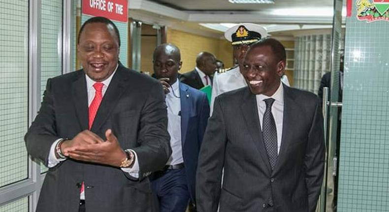 President Kenyattaat DP Ruto's office o Tuesday where the two had a working lunch