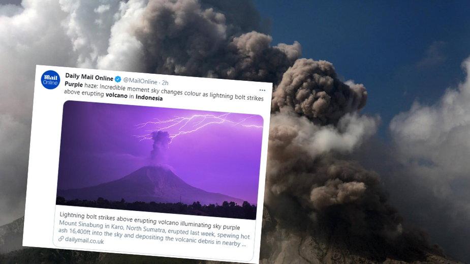 Po wybuchu wulkanu Mount Sinabung niebo zmieniło kolor na fioletowy