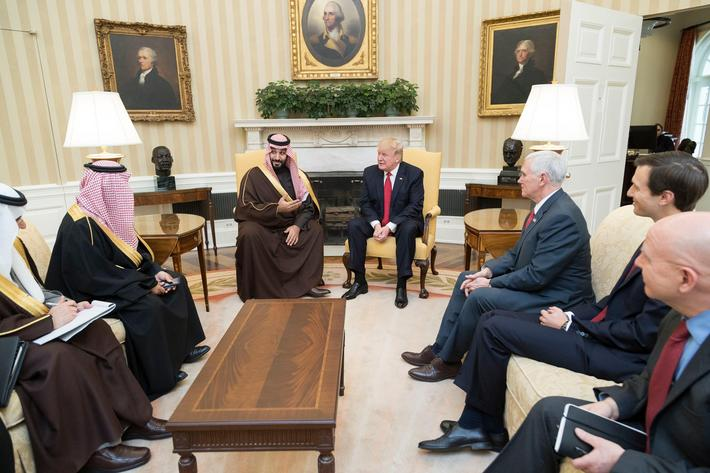 Donald Trump and Mohammed bin Salman at the White House