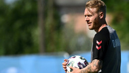 Denmark captain Simon Kjaer was praised for his quick-thinking after coming to the rescue of stricken team-mate Christian Eriksen Creator: Jonathan NACKSTRAND