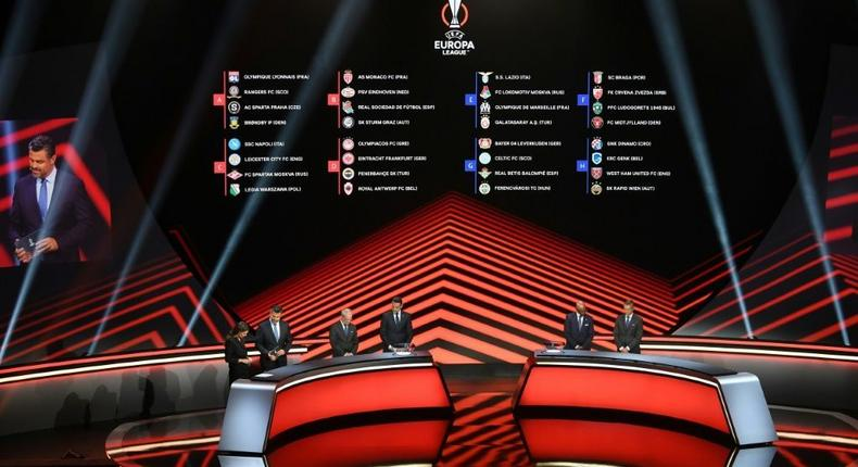 The Europa League group stage draw was made in Istanbul on Friday Creator: OZAN KOSE