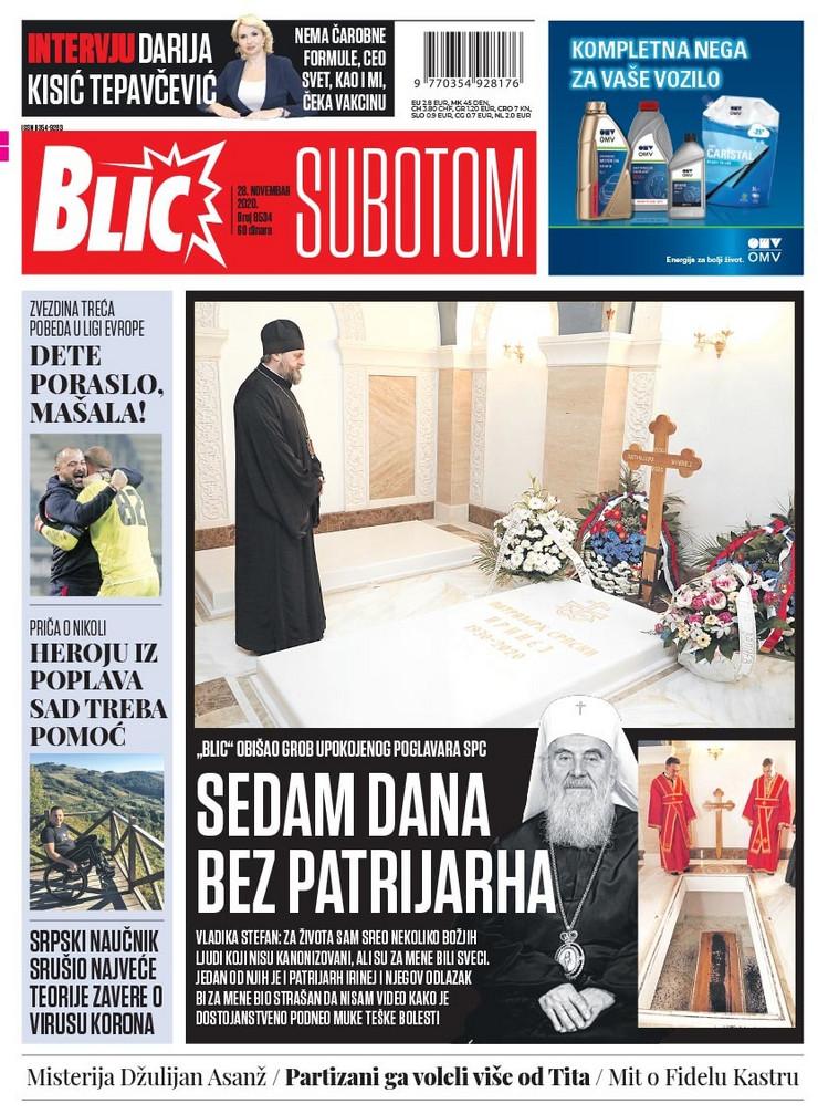 Naslovna strana Blic 28.11.2020.