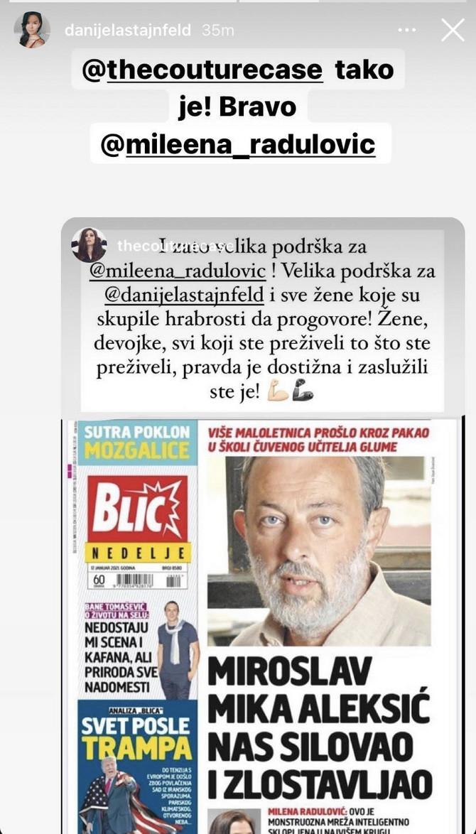 Glumica Danijela Štajnfeld pružila je podršku Mileni