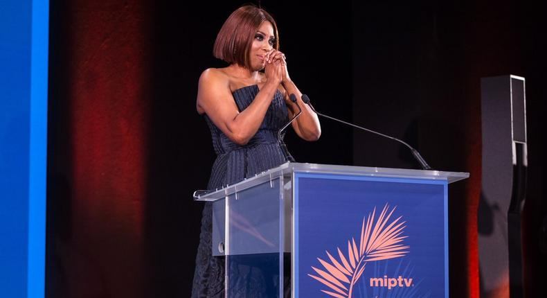 Mo Abudu awed by the honour bestowed on her by MIPTV with the Médailles d'Honneur award. [ Twitter/MoAbudu]