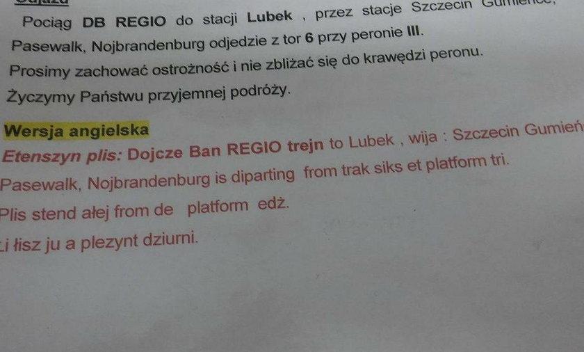 Instrukcja dla spikerów na dworcu PKP w Szczecinie