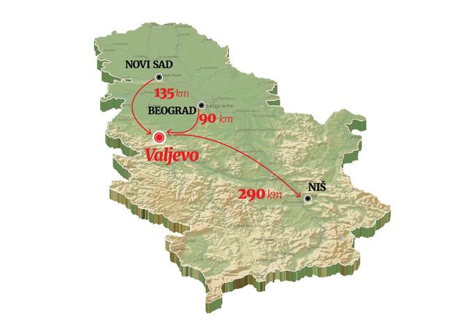 Valjevo pripada Kolubarskom okrugu