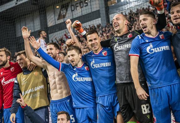Slavlje fudbalera Crvene zvezde posle revanša u Kopenhagenu