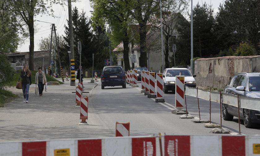 Zamknięta ul. Kamieńskiego we Wrocławiu