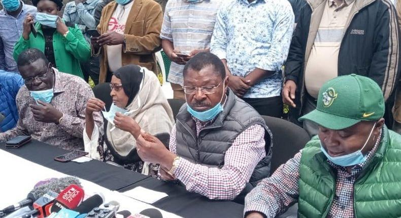 Bungoma Senator Moses Wetangula with politicians from Ford-Kenya party during a recent press briefing