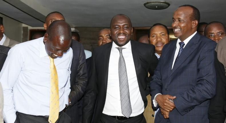 File image of DP Ruto with Kipchumba Murkomen and Aden Duale. DP Ruto met a section of Jubilee party MPs at his Karen home on Thursday