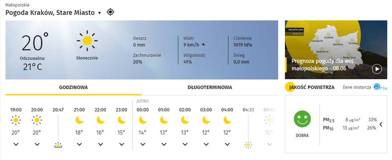 Na stronie pogoda.onet.pl możesz sprawdzić stan jakości powietrza – danych dostarczają czujniki Airly