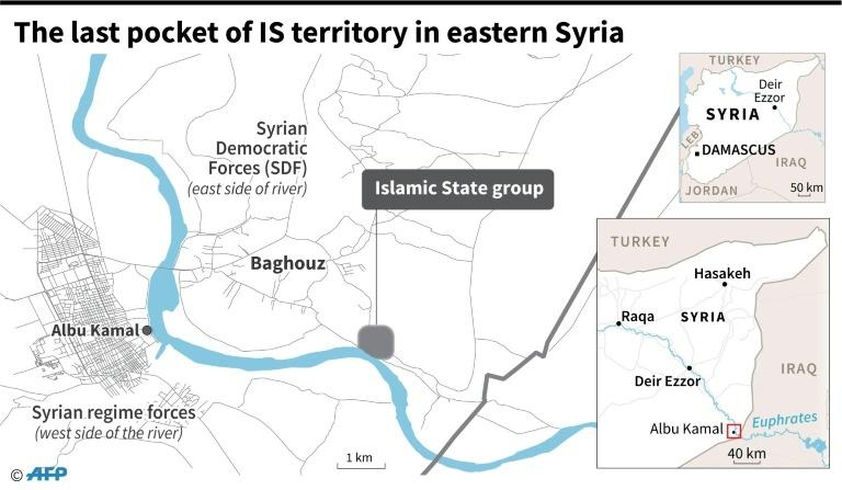 Map locating the last pocket of territory held by the Islamic State group in Syria.