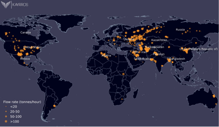 Emisje metanu według Kayross. Grafika: Kayross