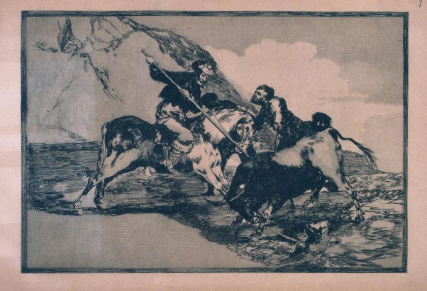 Francisco de Goya, Sposób, w jaki starożytni Hiszpanie polowali konno na byki w otwartym polu, 1814-1816, z cyklu: Tauromachia, akwaforta, akwatinta i sucha igła,29,9 x 40,7 cm, edycja: 1937, kolekcja Art Camu, Sardynia