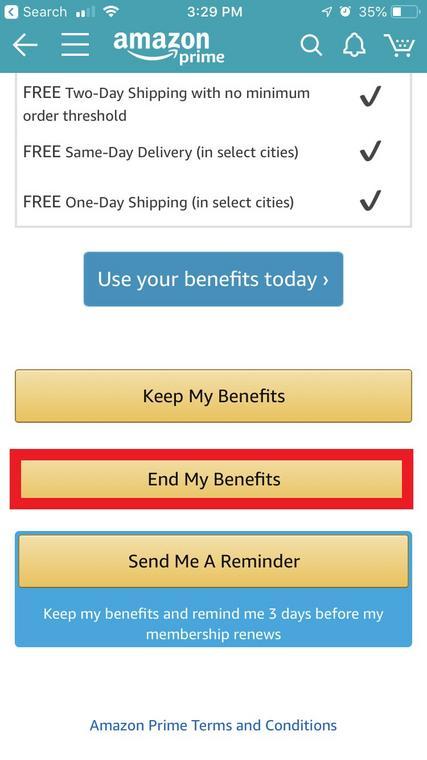 Amazon App Amazon Prime Cancel Screen 1