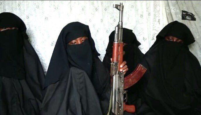 "Covered with a black veil over her face and holding an AK-47 rifle, she identified herself, surrounded by three other girls, and said she doesn't want to return home because her parents ""live in the town of unbelievers"" [TheCable]"