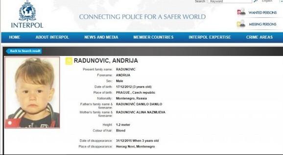 Interpol raspisao potragu za dečakom