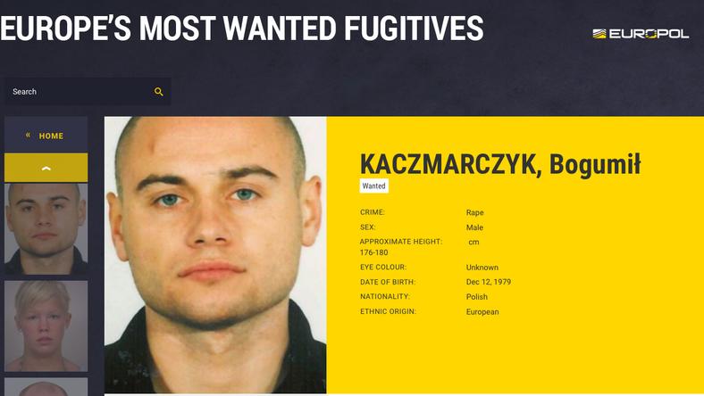 Poszukiwany Bogumił Kaczmarczyk, fot. eumostwanted.eu