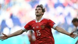 Aleksei Miranchuk celebrates scoring Russia's goal against Finland Creator: Kirill KUDRYAVTSEV
