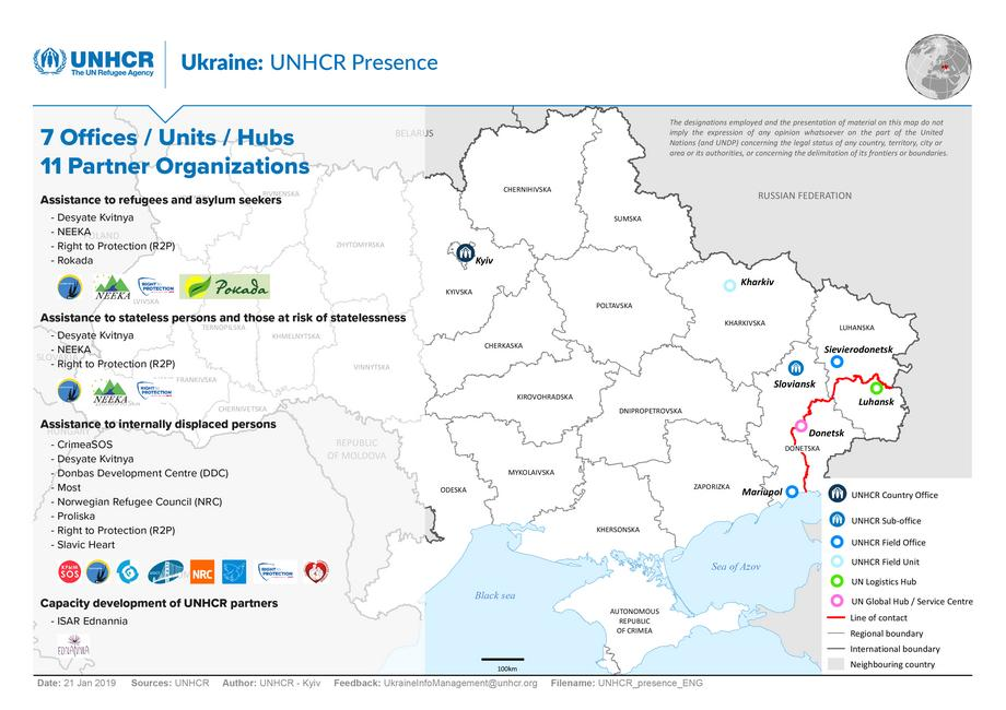 2019-01-21 Map UNHCR-Presence-including-Partners ENG