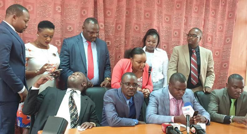 File image of Sylvanus Osoro (extreme right in a luminous green tie) and other team Tangatanga MPs addressing a press conference