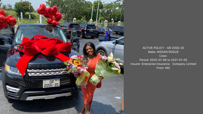 The insurance on Nana Aba's gifted Range Rover is for a Nissan Rogue; error from the NIC?