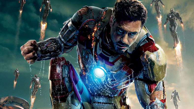 "Robert Downey Jr. z plakatu filmu ""Iron Man 3"""