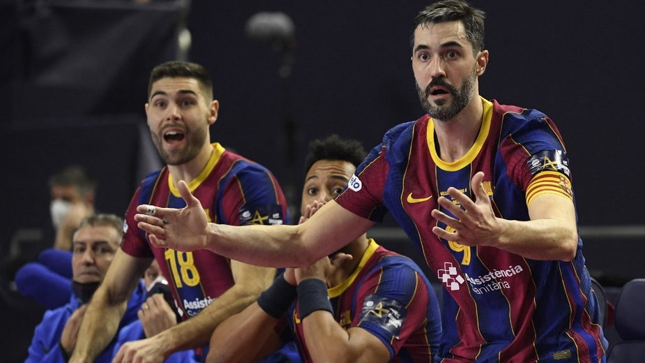 Zawodnicy Barcelony:  Blaz Janc (po lewej) i  Raul Entrerrios