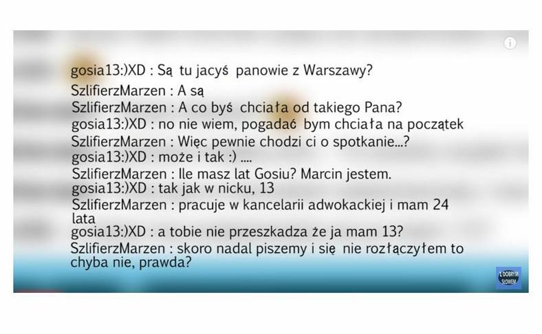 """24-letni Marcin pisze do 13-letnej Gosi (kadr z filmu z profilu """"Z dobrym słowem"""")"""