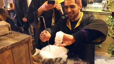 Inside London's wizarding bar where you mix your own cocktails in a cauldron and pour beers using a magic wand