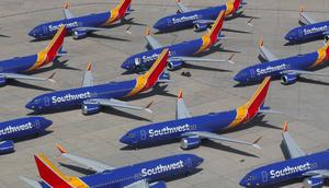 A number of grounded Southwest Airlines Boeing 737 MAX 8 aircraft are shown parked at Victorville Airport in Victorville, California