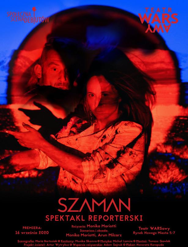 SZAMAN, plakat- Honorata Karapuda. Teatr WARSawy