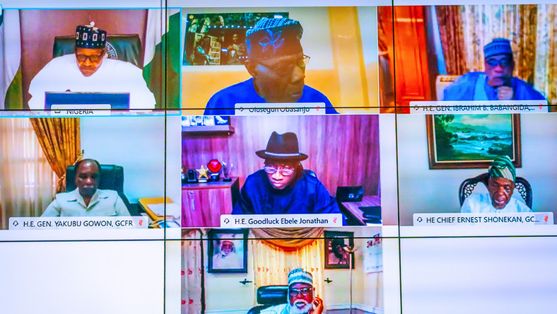 President Buhari holds virtual meeting with former Heads of State on Friday, October 23, 2020 (Presidency)