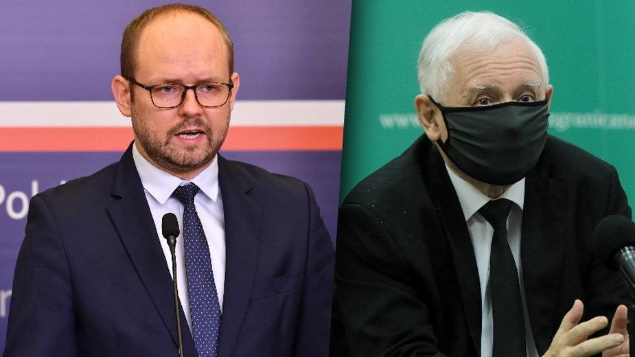 Wiceminister spraw zagranicznych Marcin Przydacz i Wiceprezes Rady Ministrów Jarosław Kaczyński