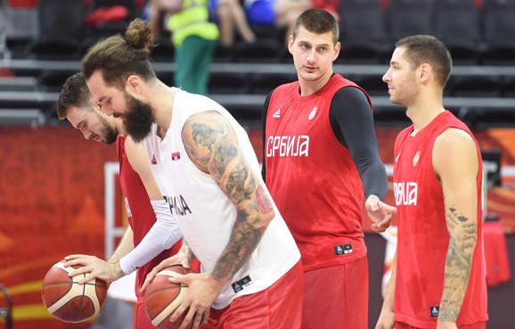 Košarkaška reprezentacija Srbije na treningu pre meč sa Italijom