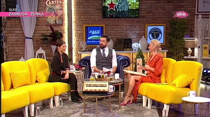 Nataša Bekvalac sa Ognjenom Amidžićem i Tijanom Stojisavljević u emisiji