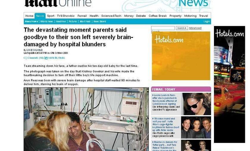 Rodzice żegnają umierającego synka. Zobacz zdjęcia