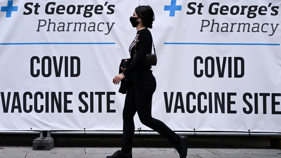 Punkt szczepień w Wielkiej Brytanii