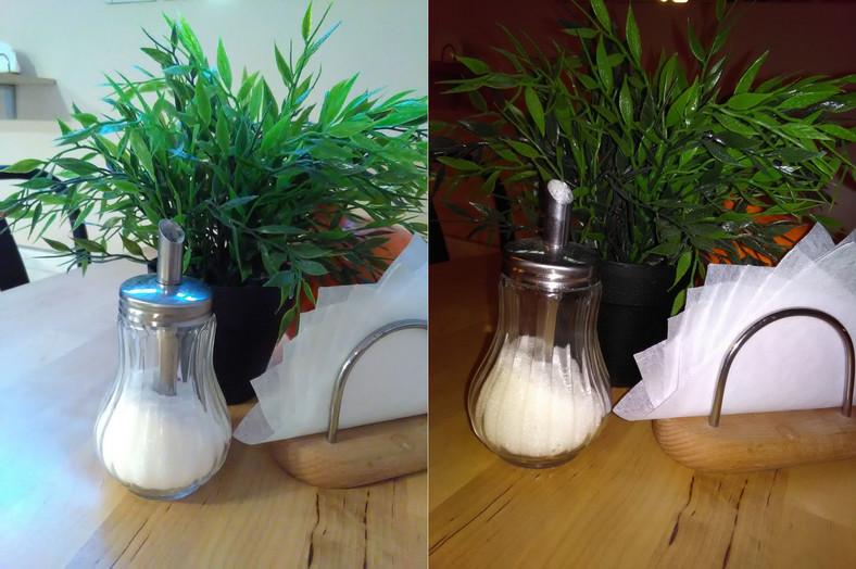Zdjęcia wykonane telefonem CAT s40, po lewej bez lampy, po prawej z lampą